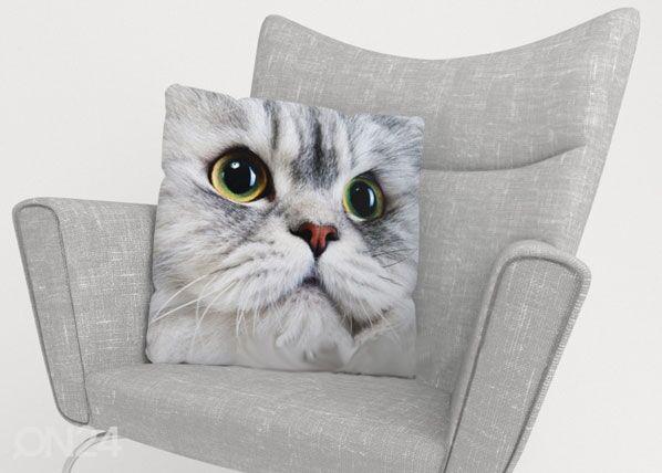 Image of Wellmira Koristetyynyliina GRAY CAT 40x60 cm