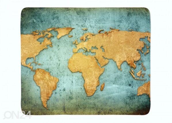 Fleecepeitto Golden World Map 130x150 cm