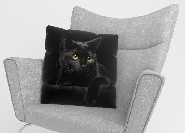 Image of Wellmira Koristetyynyliina BLACK CAT 45x45 cm