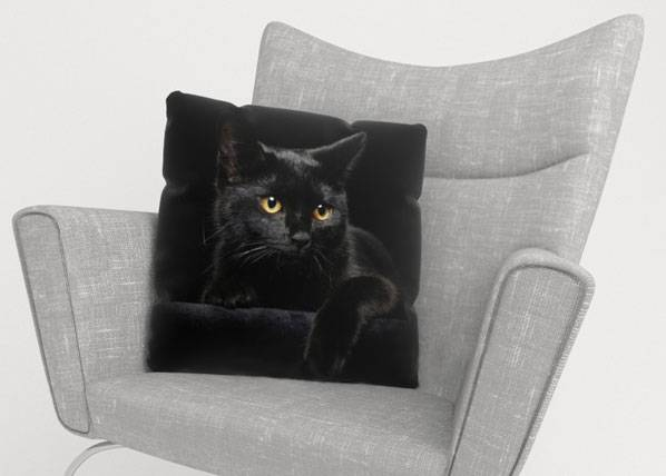 Image of Wellmira Koristetyynyliina BLACK CAT 50x50 cm