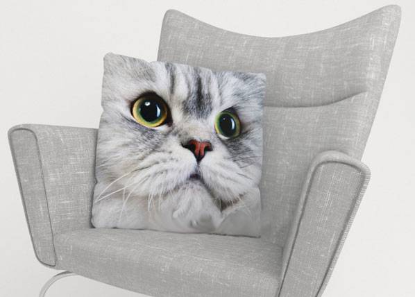 Image of Wellmira Koristetyynyliina GRAY CAT 45x45 cm