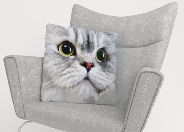 Image of Wellmira Koristetyynyliina GRAY CAT 50x50 cm