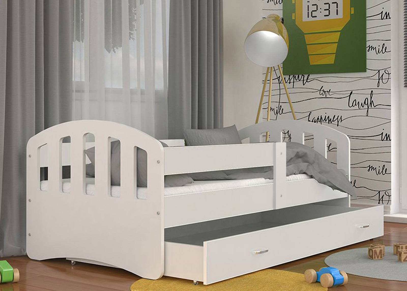 AJK-Meble Lastensänky vuodevaatelaatikolla 80x160 cm + patja