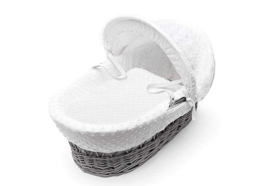 Jänku Kehto Valkoinen minky harmaalla korikopalla