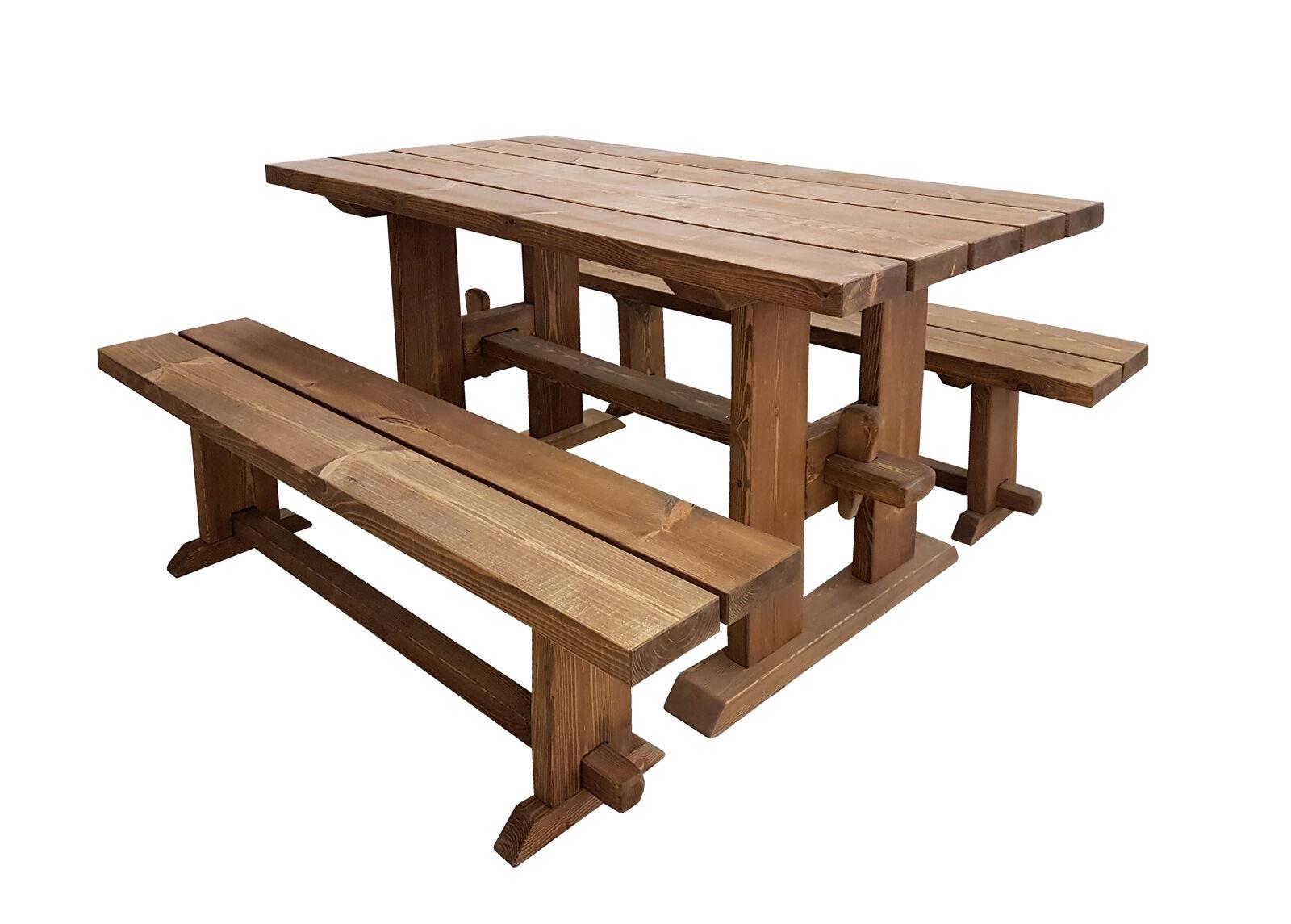 MSL Puutarhapöytä ja penkit 200 cm
