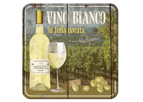Retro lasinalusta Vino Bianco 4 kpl