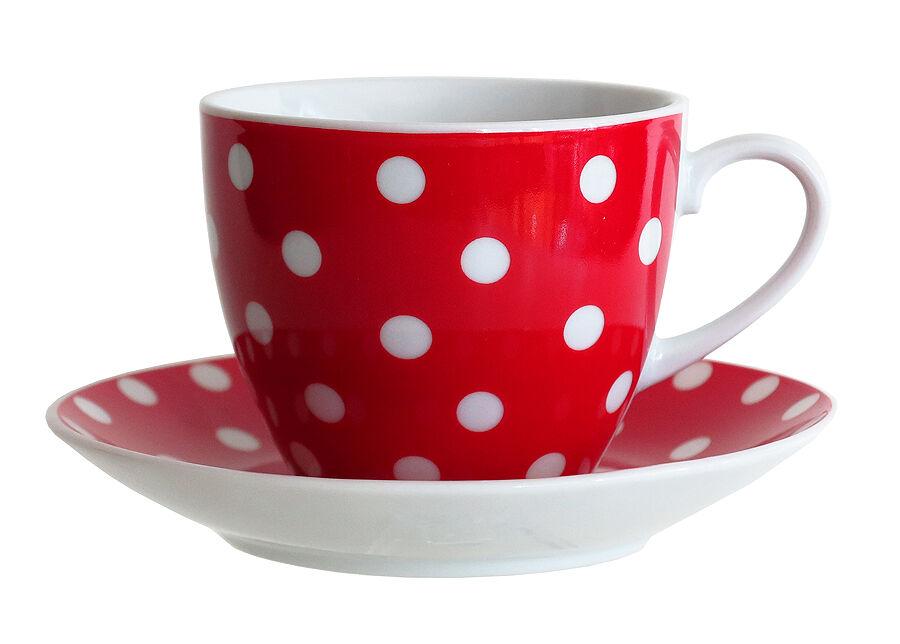 ASI Collektion Kahvikuppi ja lautanen PIENI TÄPLÄ 200 ml, 6 kpl