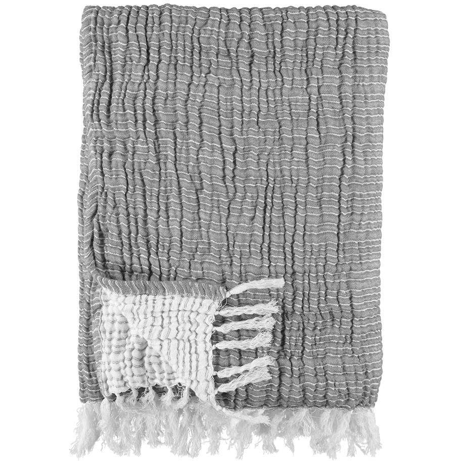 Gripsholm Washed Cotton Throw 130x170 cm, Medium Grey