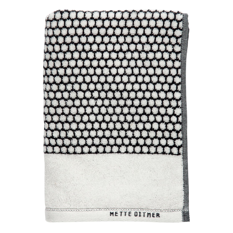 Mette Ditmer Grid Vieraspyyhe 30x60cm, Musta/Luonnonvalkea