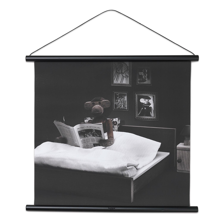 """Kay Bojesen Kay Bojesen Monkey Photo """"Reading in Bed"""" 40x56cm"""