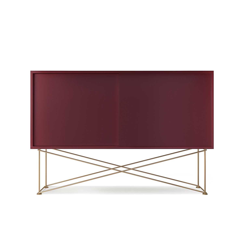 Decotique Vogue Sivupöytä, 136cm, Viininpunainen/Messinki