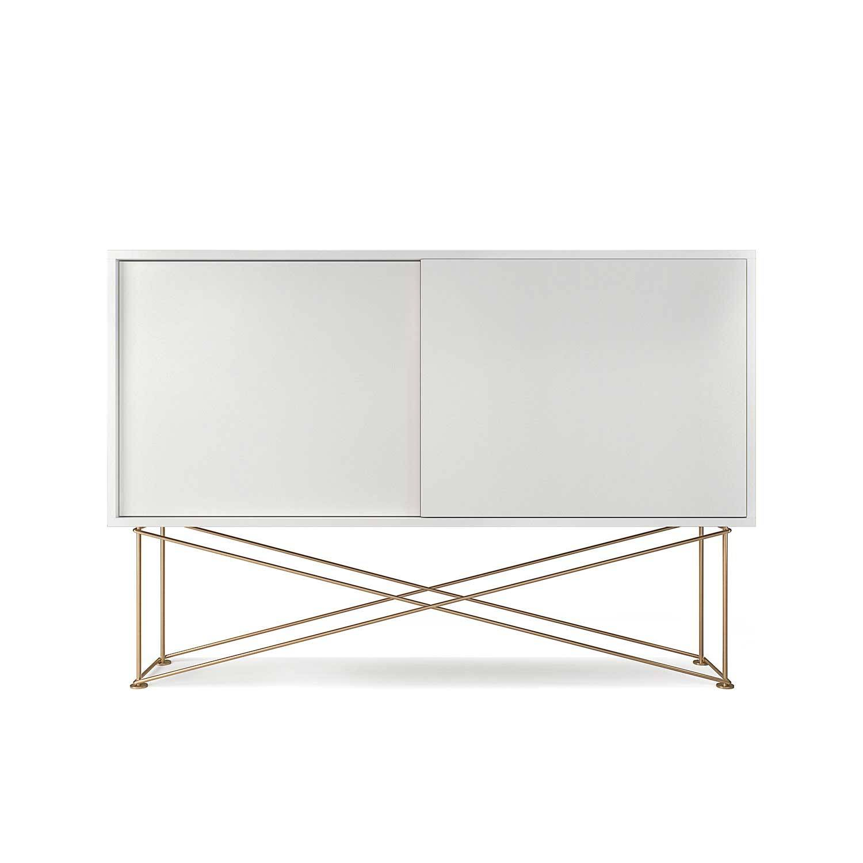 Decotique Vogue Sivupöytä, 136cm, Valkoinen/Messinki