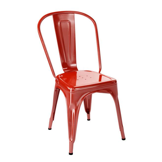 Tolix Tuoli A Ruostumaton Teräs/Punainen/Kiiltävä