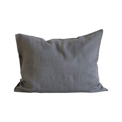 Tell Me More Linen Pillowcase 50x60 cm 2-pack, Dark Grey