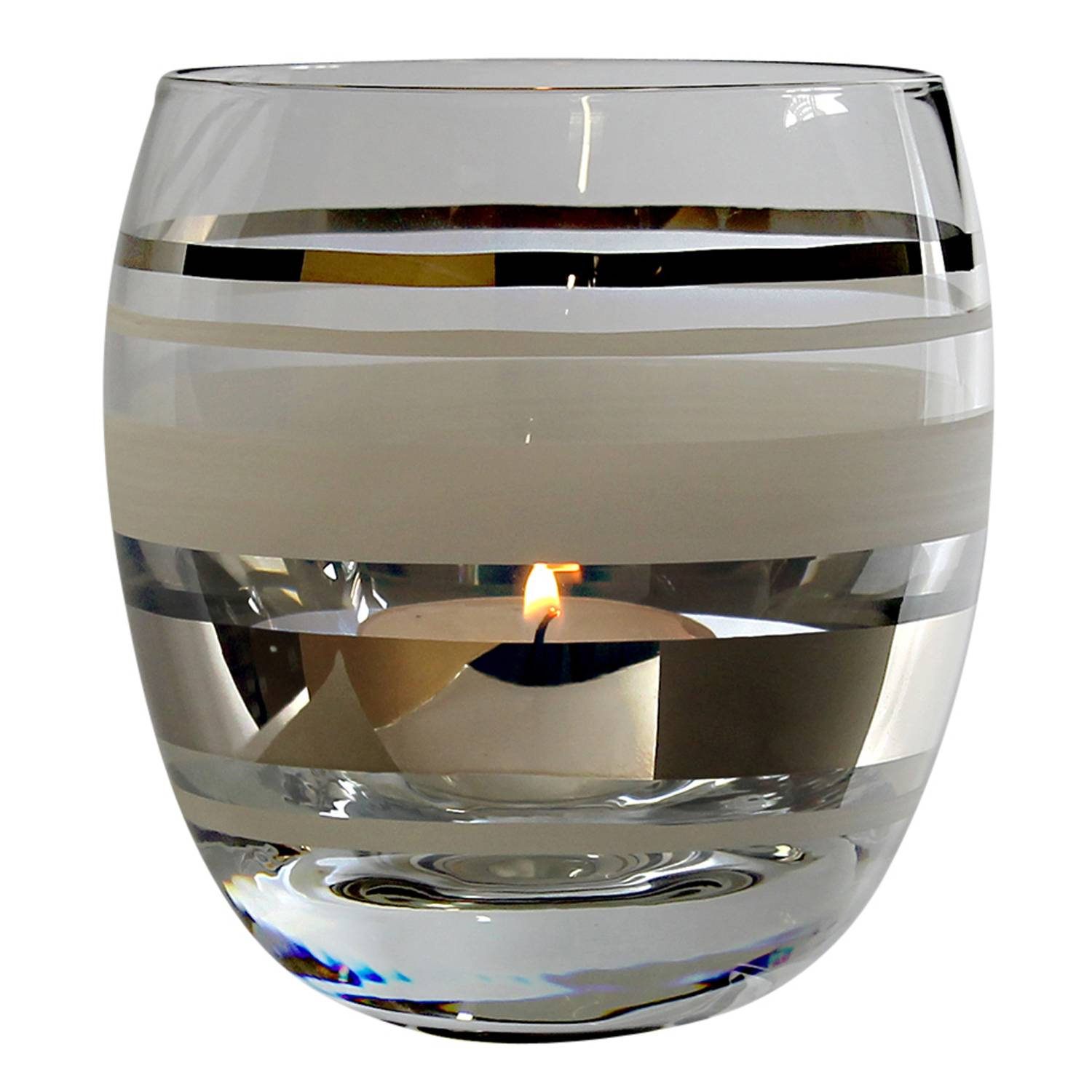 Nybro Crystal Versailles Candle Holder, Silver/White