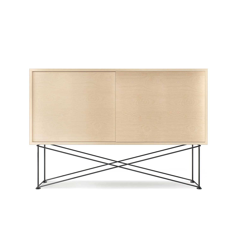 Decotique Vogue Sivupöytä, 136cm, Valkoi. Tammi/Musta