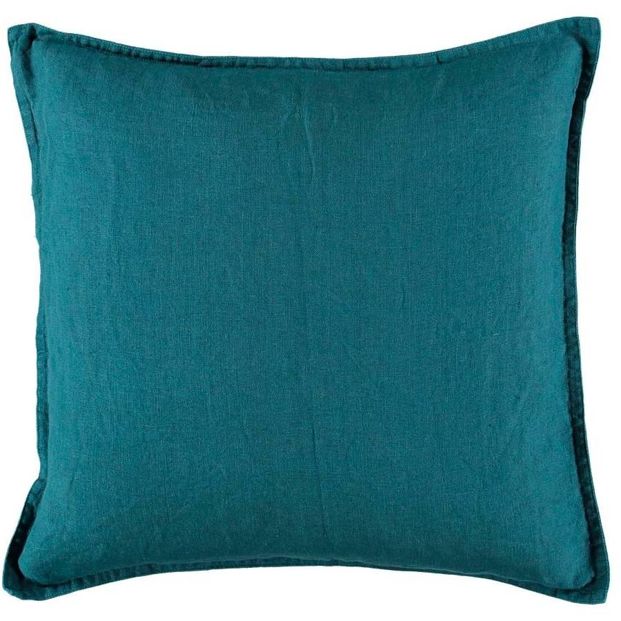 Gripsholm Washed Linen Cushion Cover 50x50 cm, Petrol
