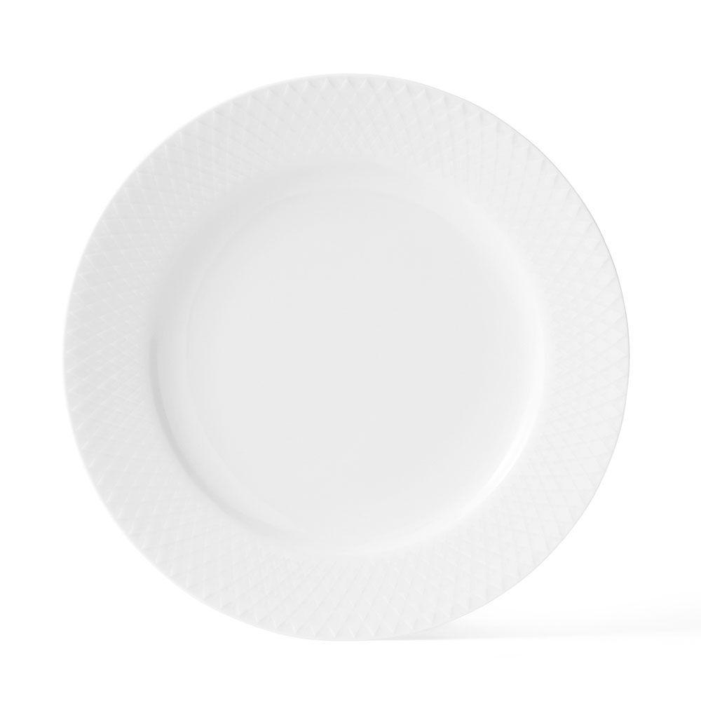 Lyngby Porcelæn Rhombe Lautanen Ø21cm, Valkoinen
