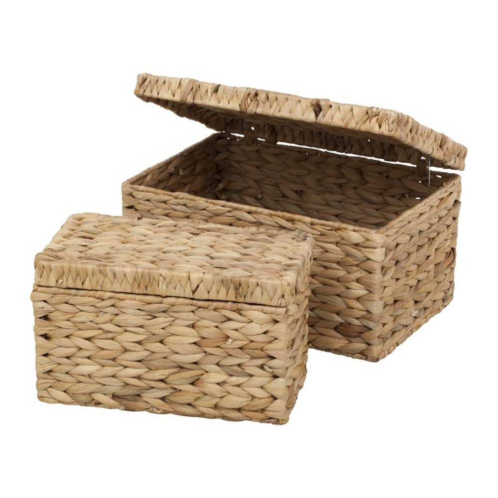 Dixie Water Hyacinth Fishbone Box with Lid 2-pack