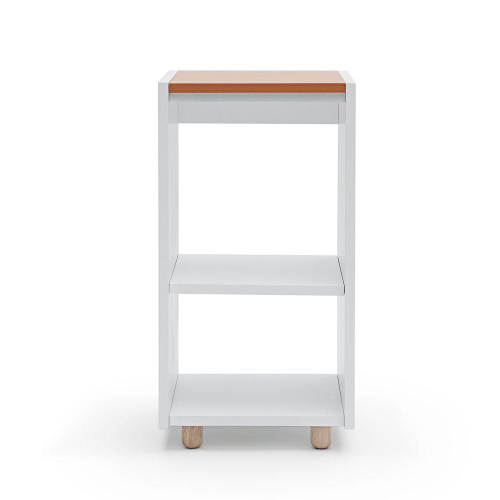 Decotique Loft Yöpöytä/Kaappi TC, Vaaleanharmaa/Nahka Beige