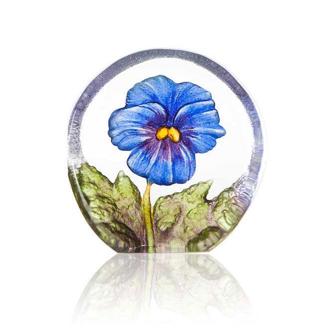 Målerås Glasbruk Floral Fanasy Miniatyr Orvokki, Sininen