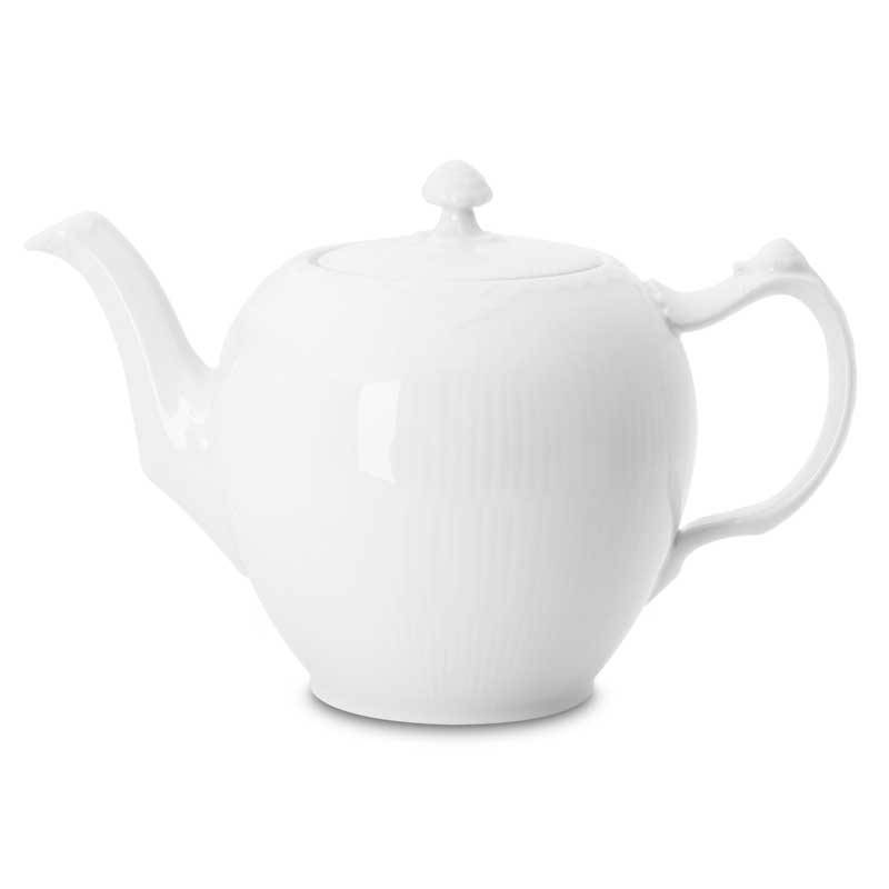 Royal Copenhagen White Fluted Half Lace Teekannu 1 L