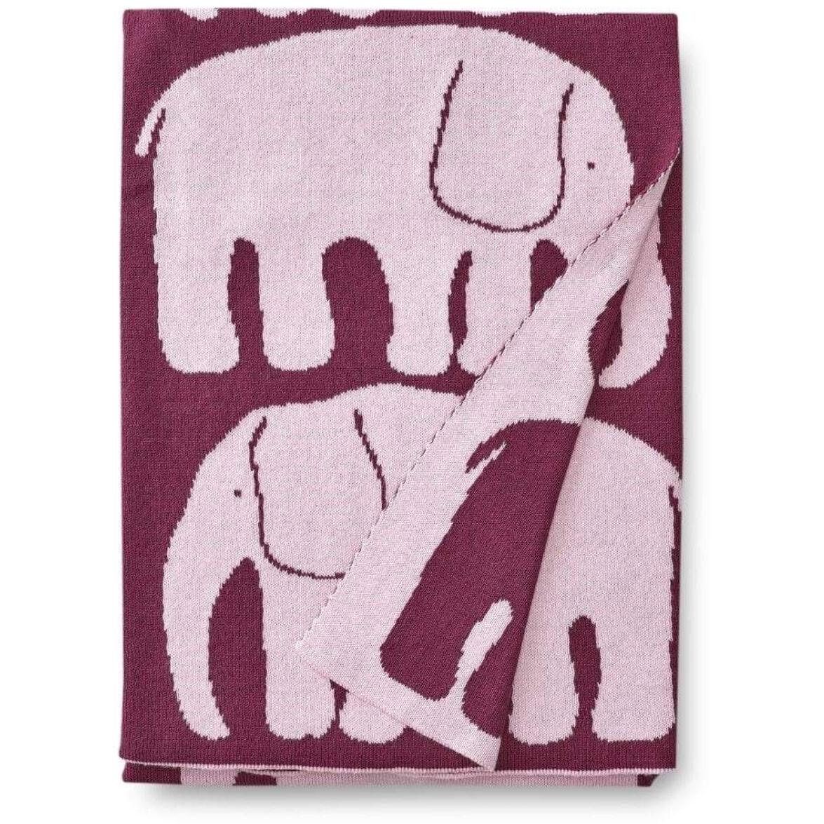Finlayson Elefantti Baby Blanket 80x100 cm, Burgundy/Pink