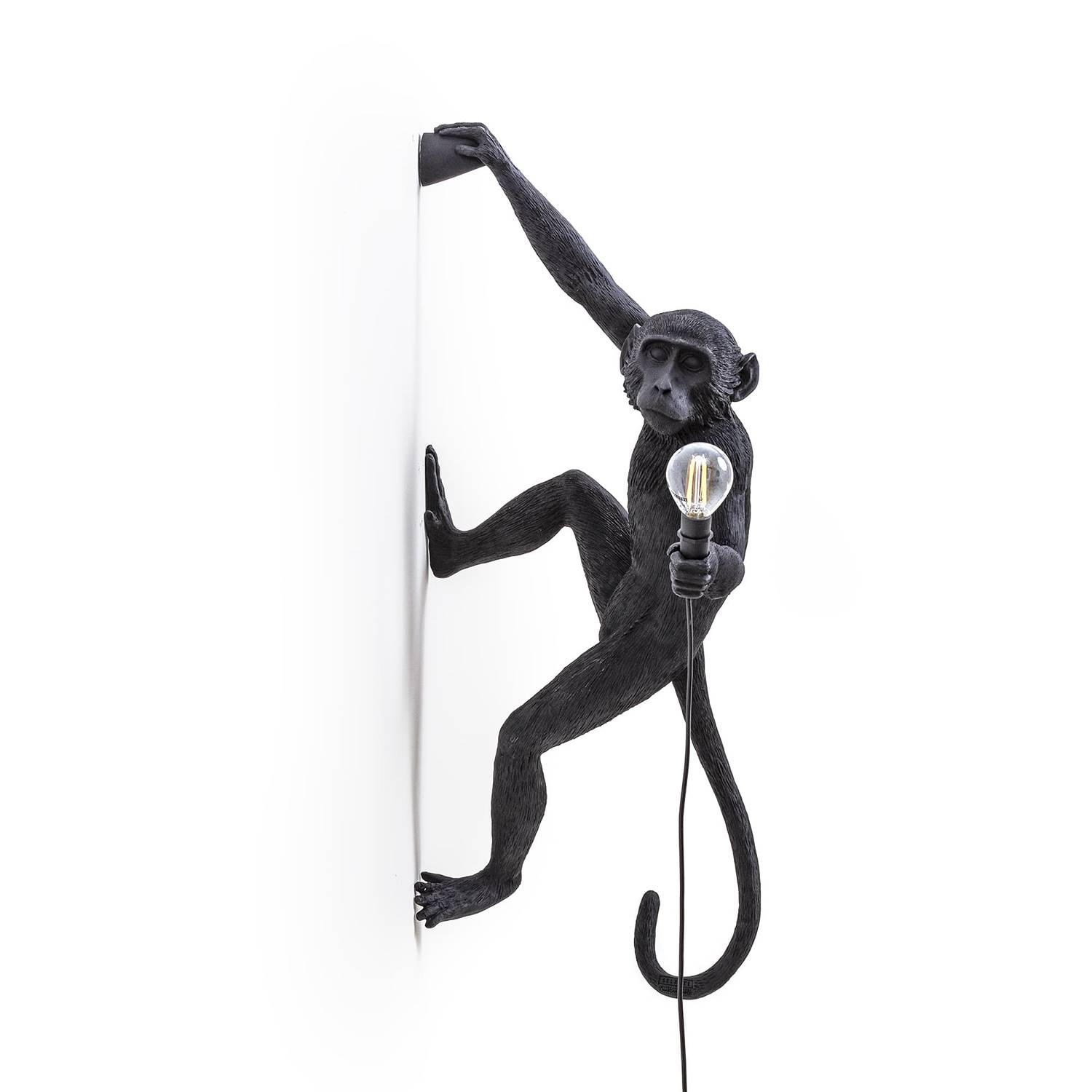 Seletti Monkey Lamp Outdoor Hanging Version Right, Black