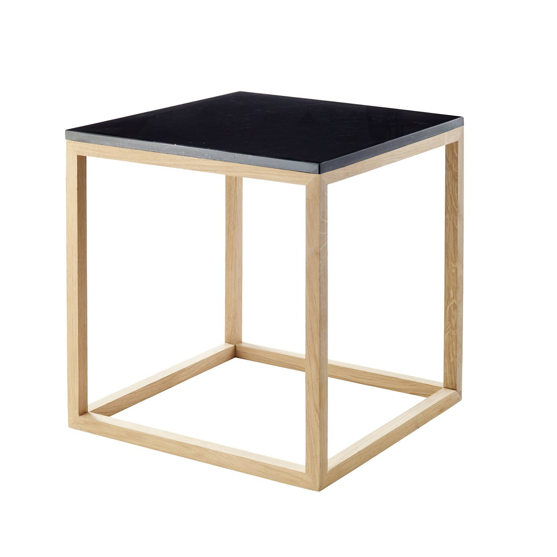 Kristina Dam The Cube sivupöytä S, musta marmori/tammi