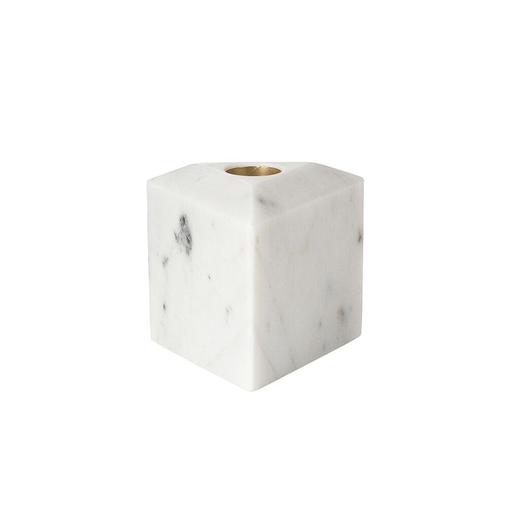 Louise Roe Tricia Triangle Kynttilänjalka, Valkoinen/Messinki