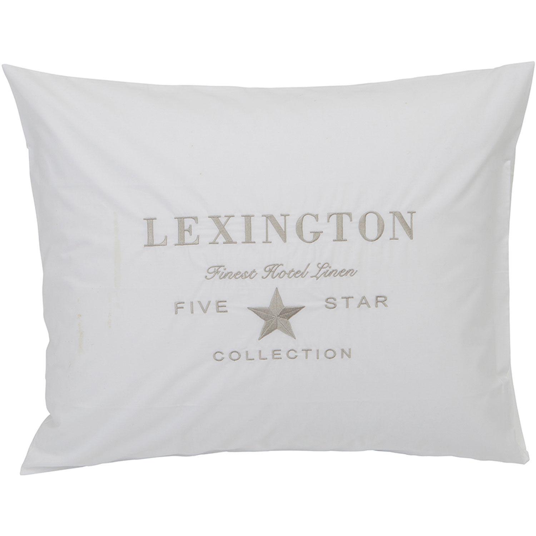 Lexington Hotel Embroidery Pillowcase 65x65 cm, White/Beige