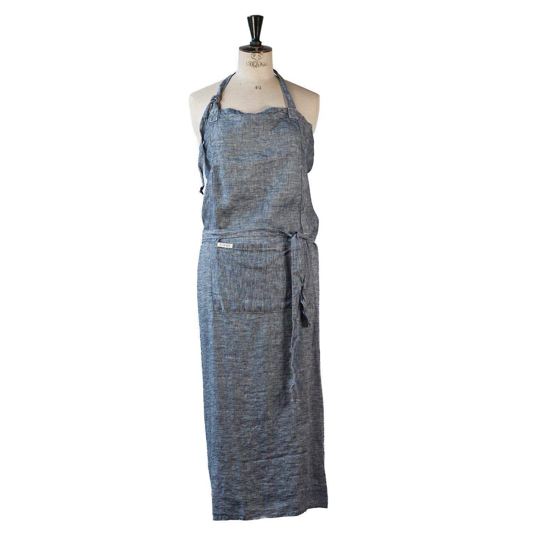 Tell Me More Washed Linen Apron 100x110 cm, Denim Blue