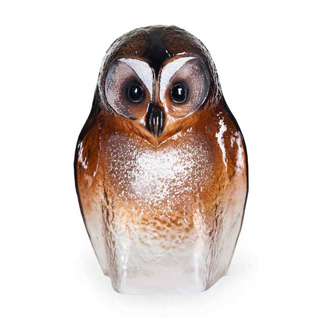 Målerås Glasbruk Safari Pöllö Iso, Ruskea