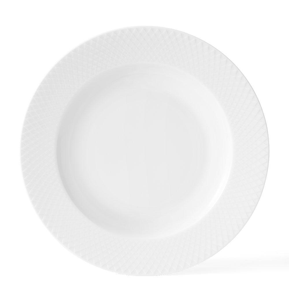 Lyngby Porcelæn Rhombe Djup Lautanen Ø23cm, Valkoinen