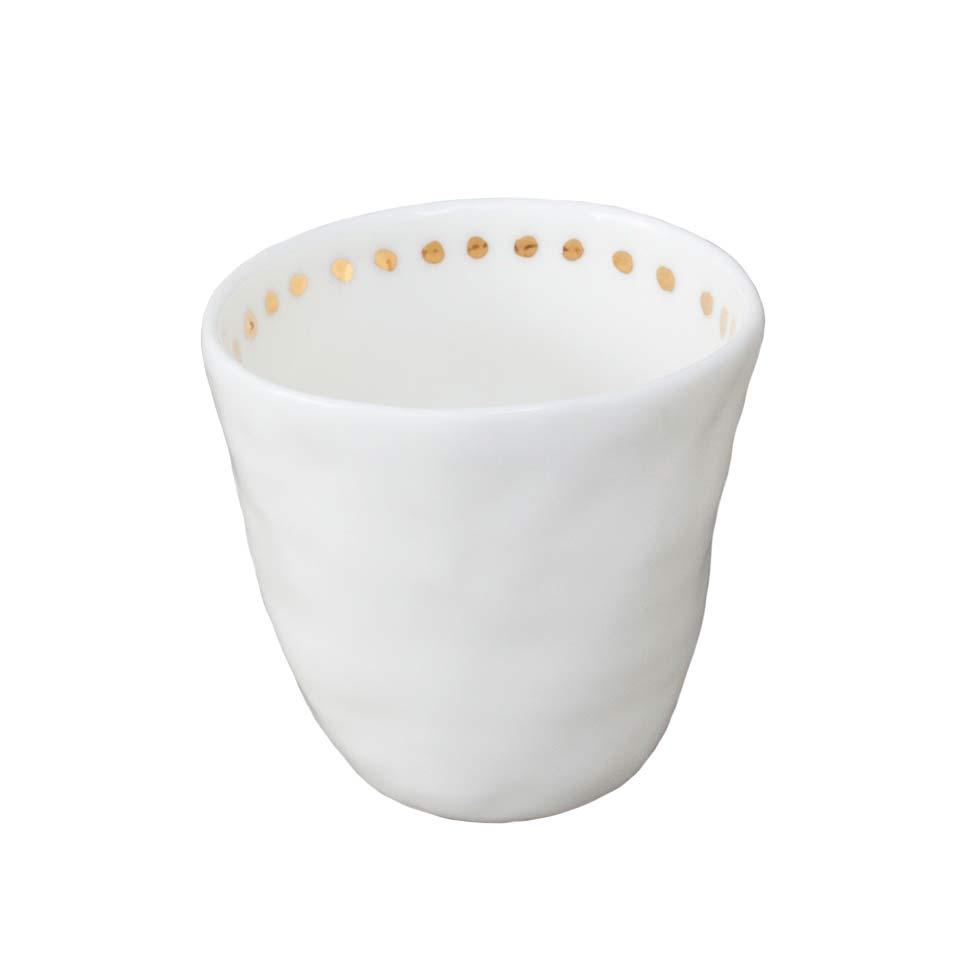 Kajsa Cramer Patchy Espressokuppi Dot, Valkoinen/Kulta