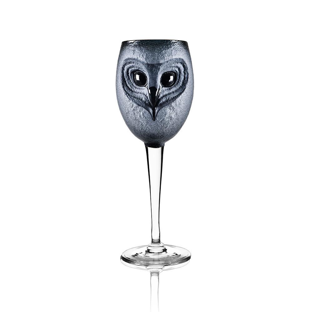 Målerås Glasbruk Strix Pöllö Viinilasi Musta