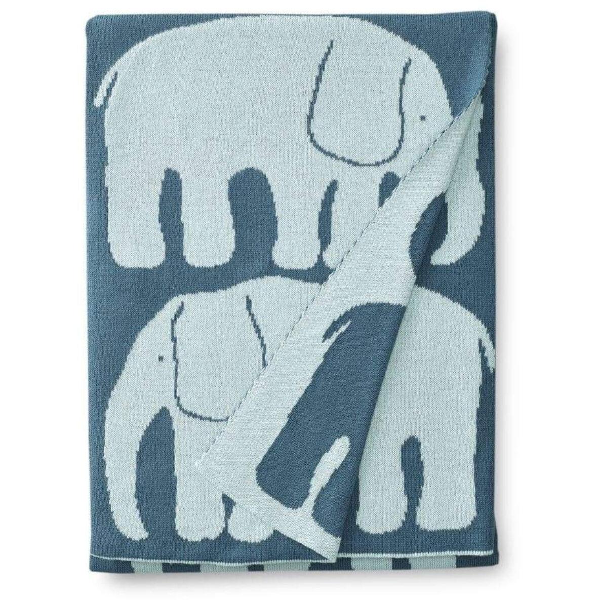 Finlayson Elefantti Baby Blanket 80x100 cm, Dark Red/Light Blue