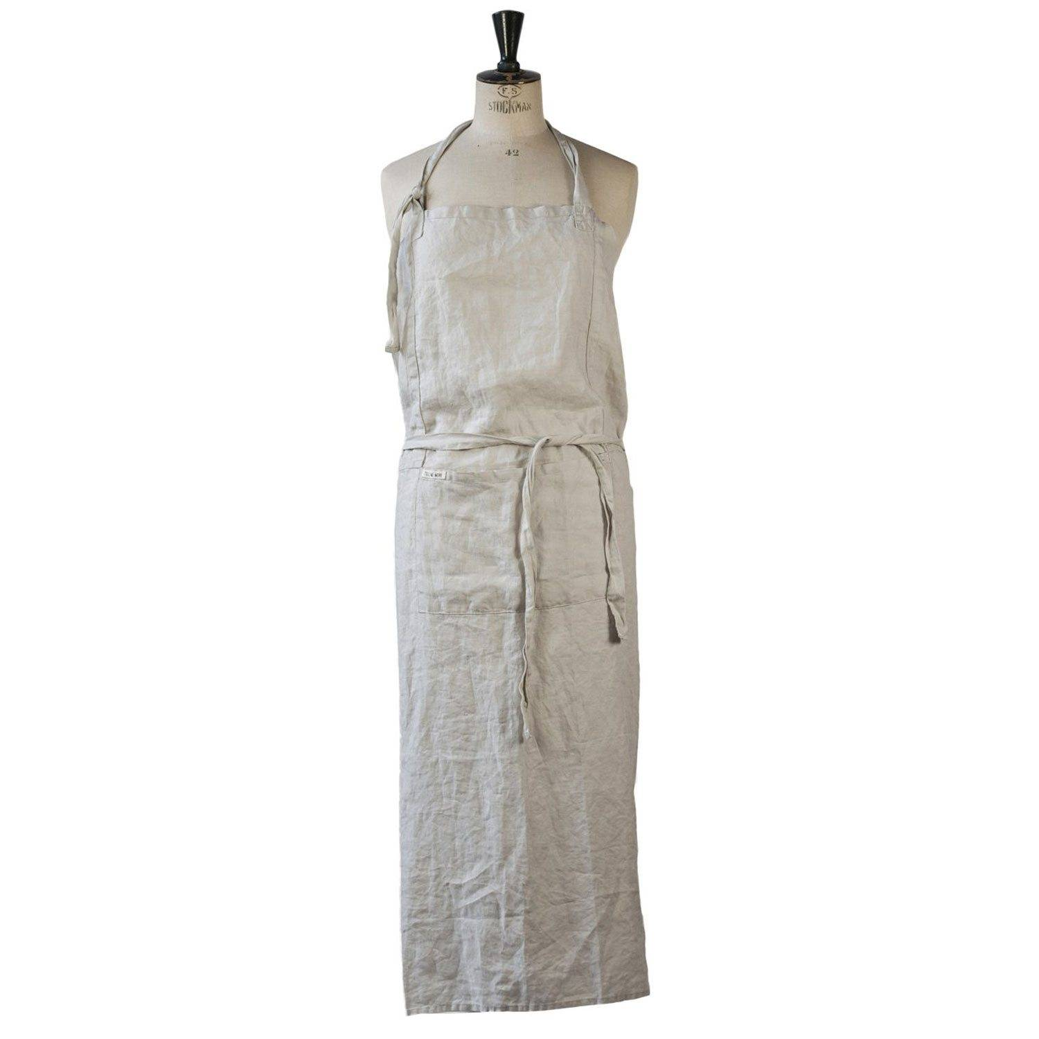 Tell Me More Washed Linen Apron 100x110 cm, Light Grey