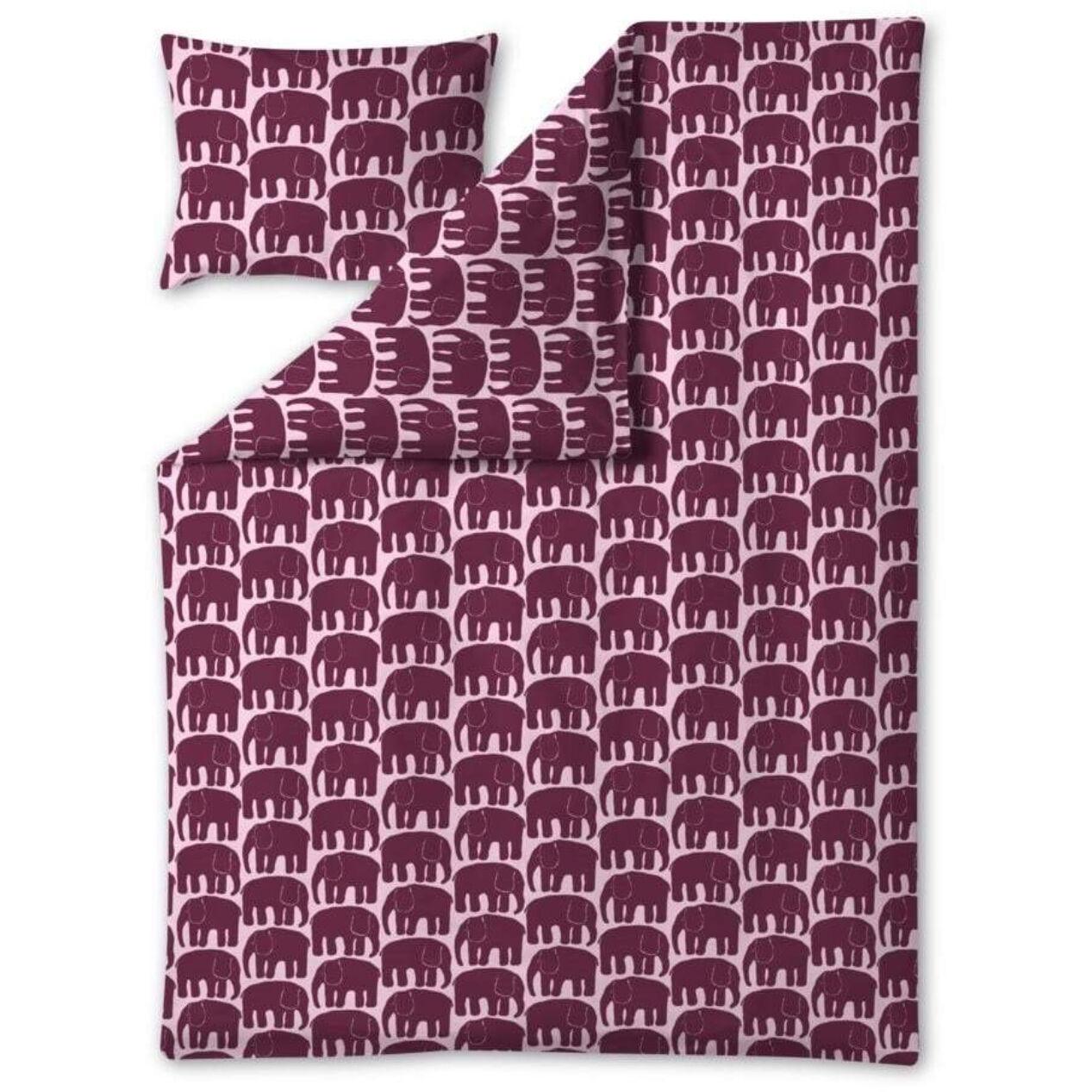 Finlayson Elefantti Bedset 150x210 cm, Burgundy/Pink
