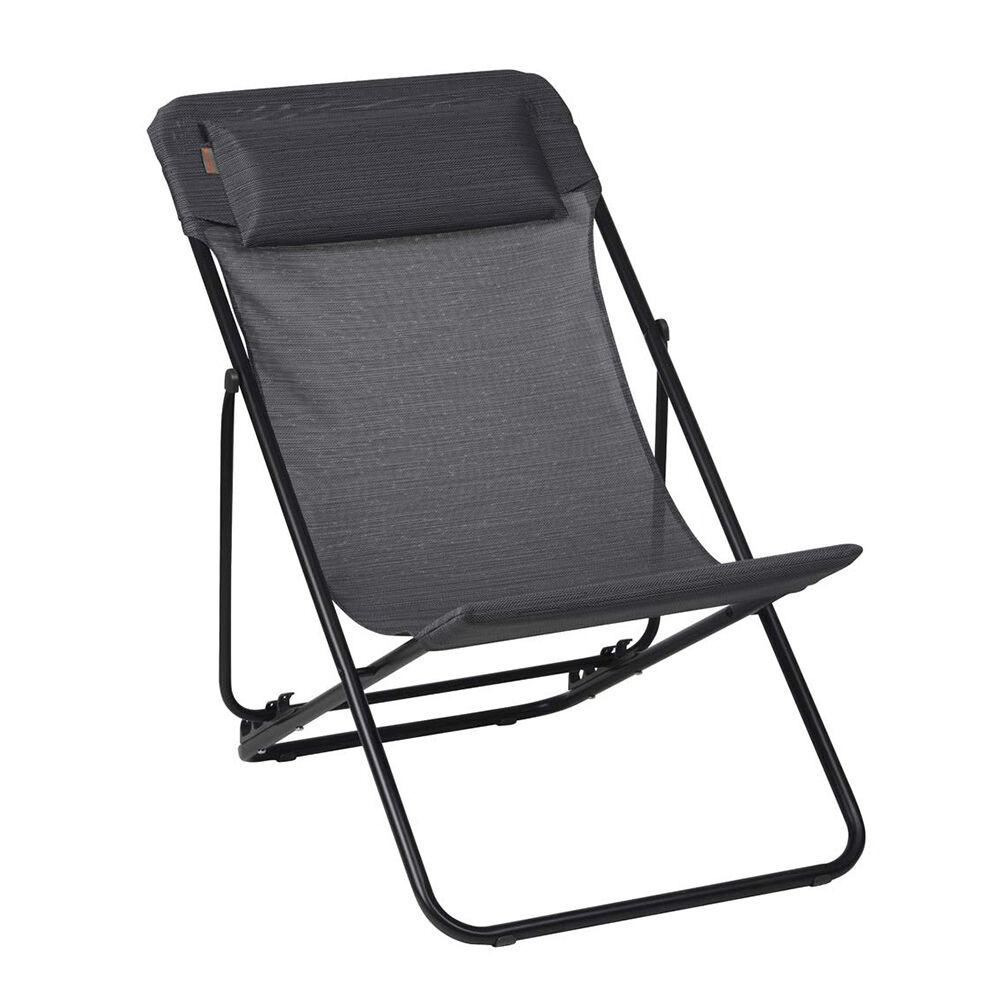 Lafuma Maxi Transat+ Deck Chair, Obsidian/Black