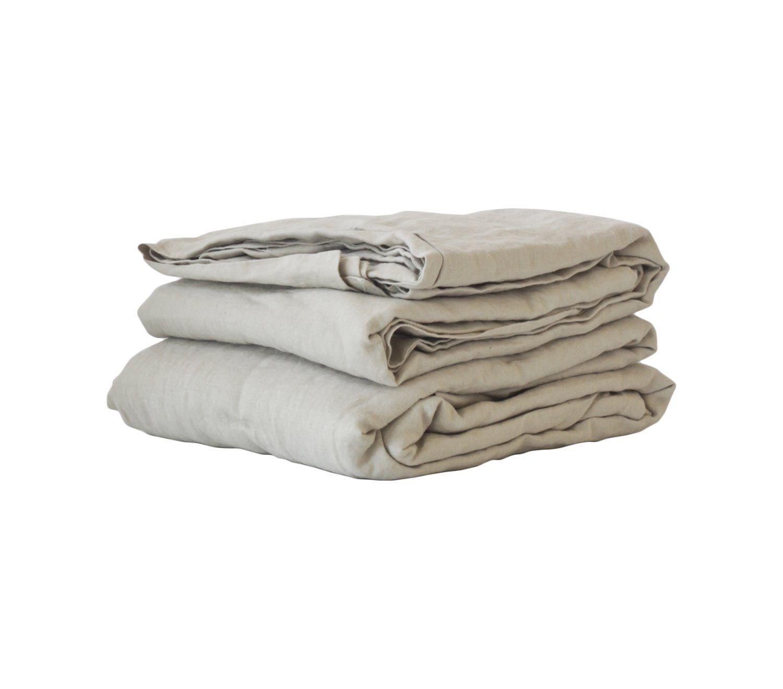 Tell Me More Linen Sheet 270x270 cm, Light Grey