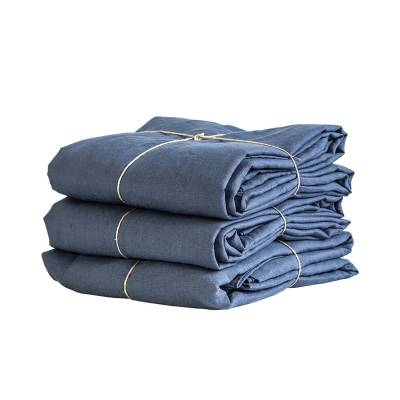 Tell Me More Linen Duvet Cover 150x200 cm, Navy Blue