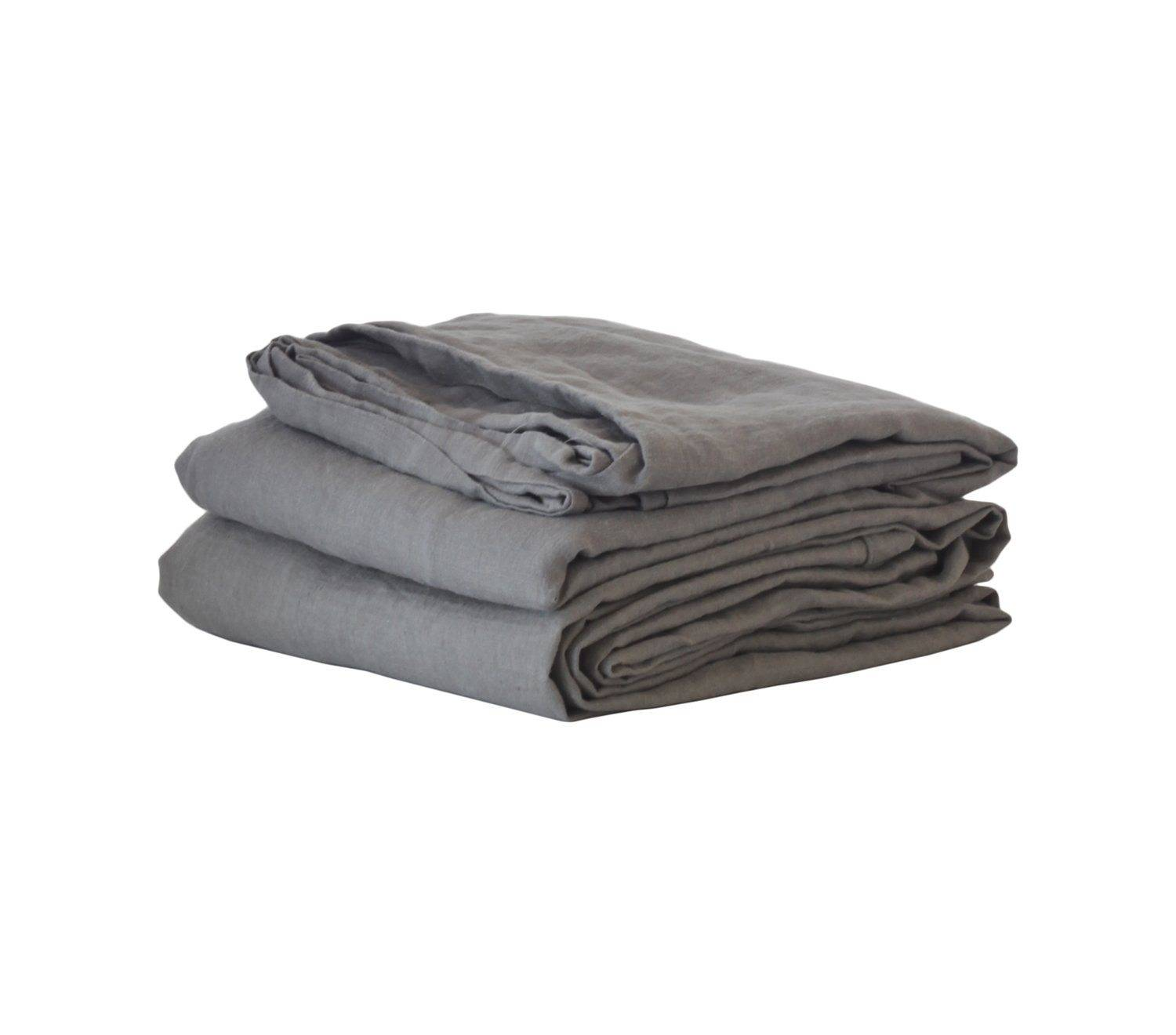 Tell Me More Washed Linen Bed Sheet 270x270 cm, Dark Grey