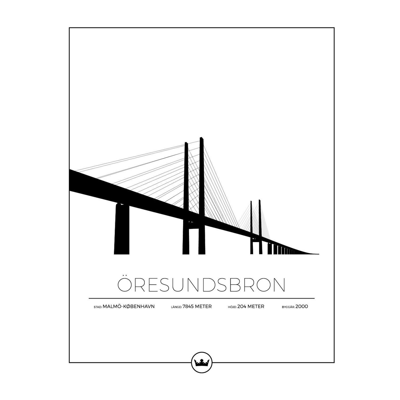 Sverigemotiv Öresundsbron Malmö/Köpenhamn Poster 40x50cm