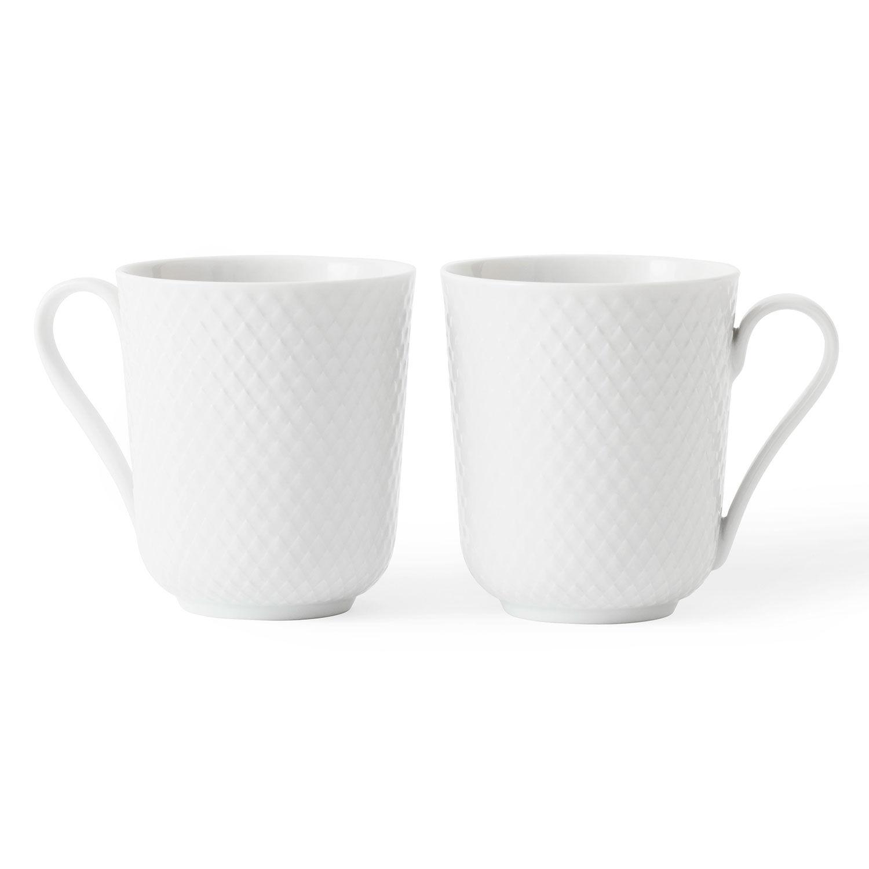 Lyngby Porcelæn Rhombe Muki 33cl 2-Pakkaus, Valkoinen