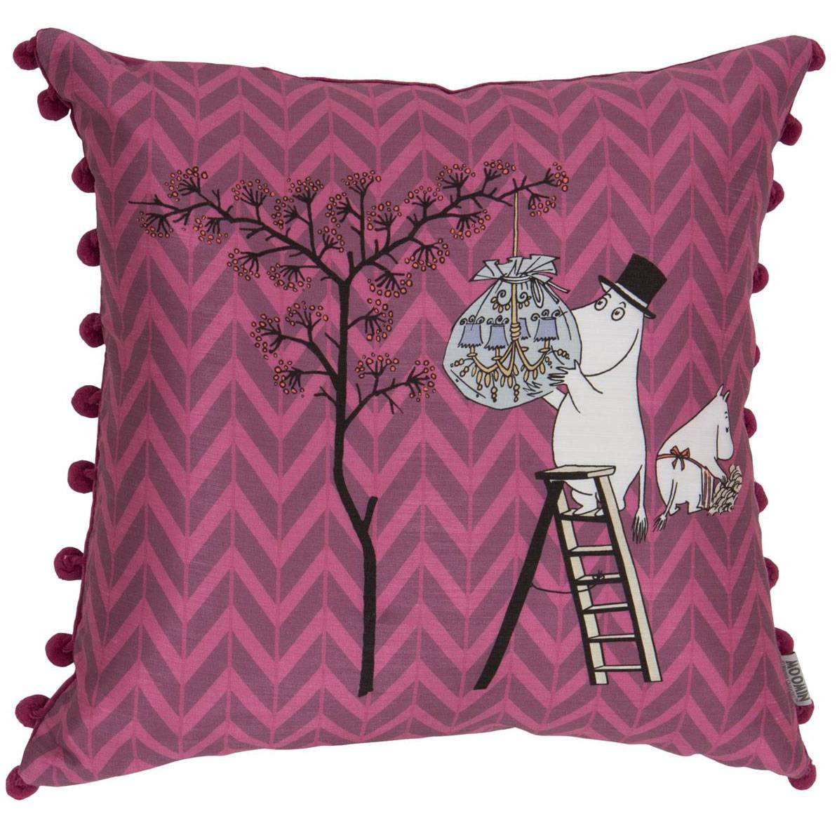 Moomin Moomin Dad Decorates the Tree Cushion Cover 50x50 cm, Aubergine