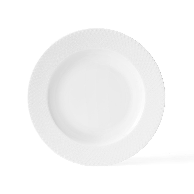 Lyngby Porcelæn Rhombe Djup Lautanen Ø20cm, Valkoinen