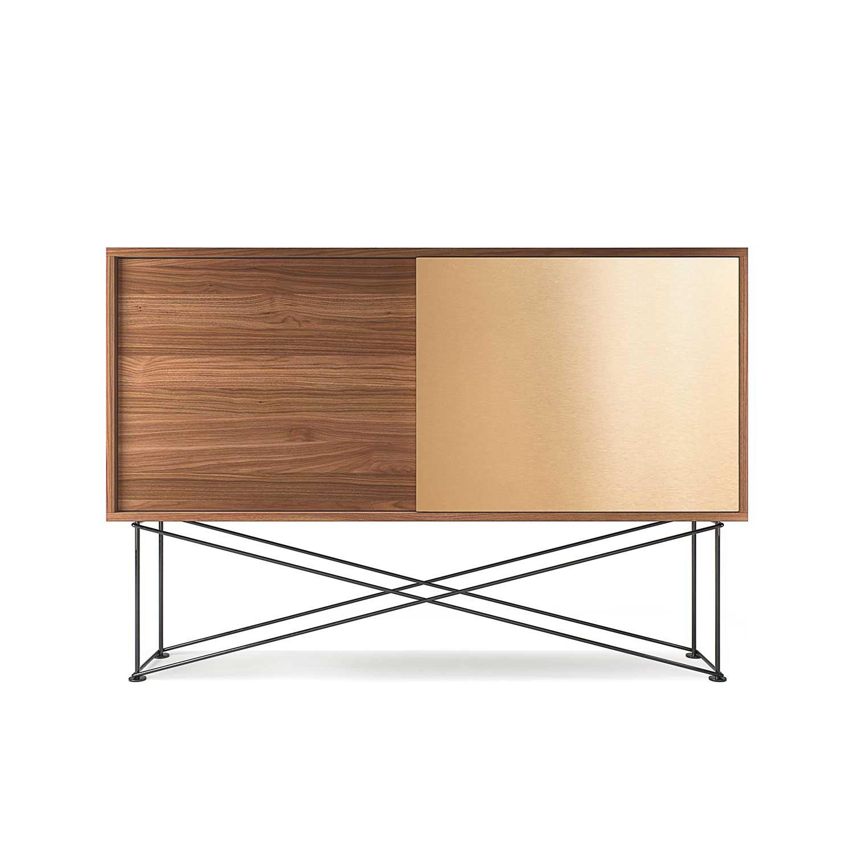 Decotique Vogue Sideboard 136H, Saksanpähkinä/1W1B/Musta