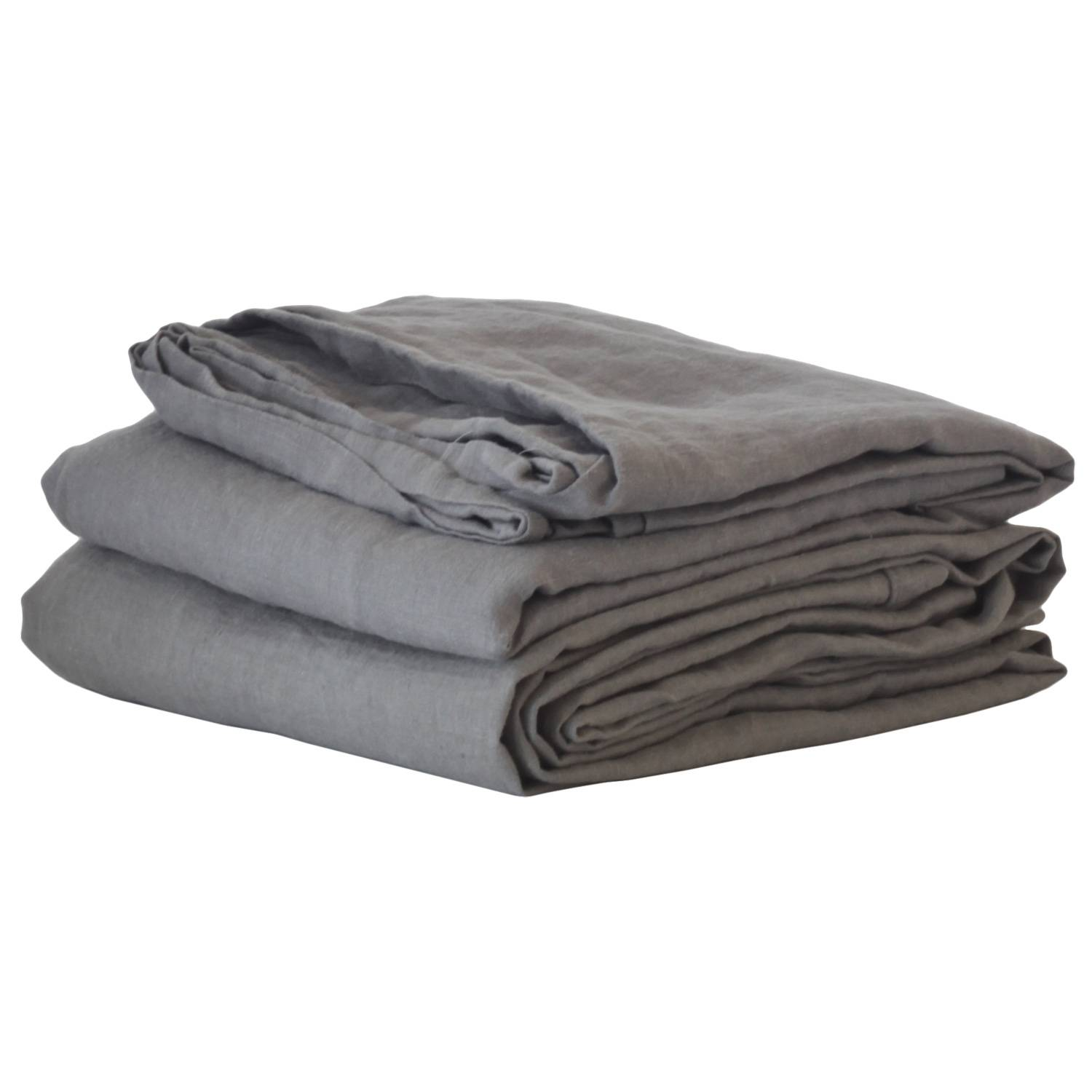 Tell Me More Washed Linen Bed Sheet 160x270 cm, Dark Grey
