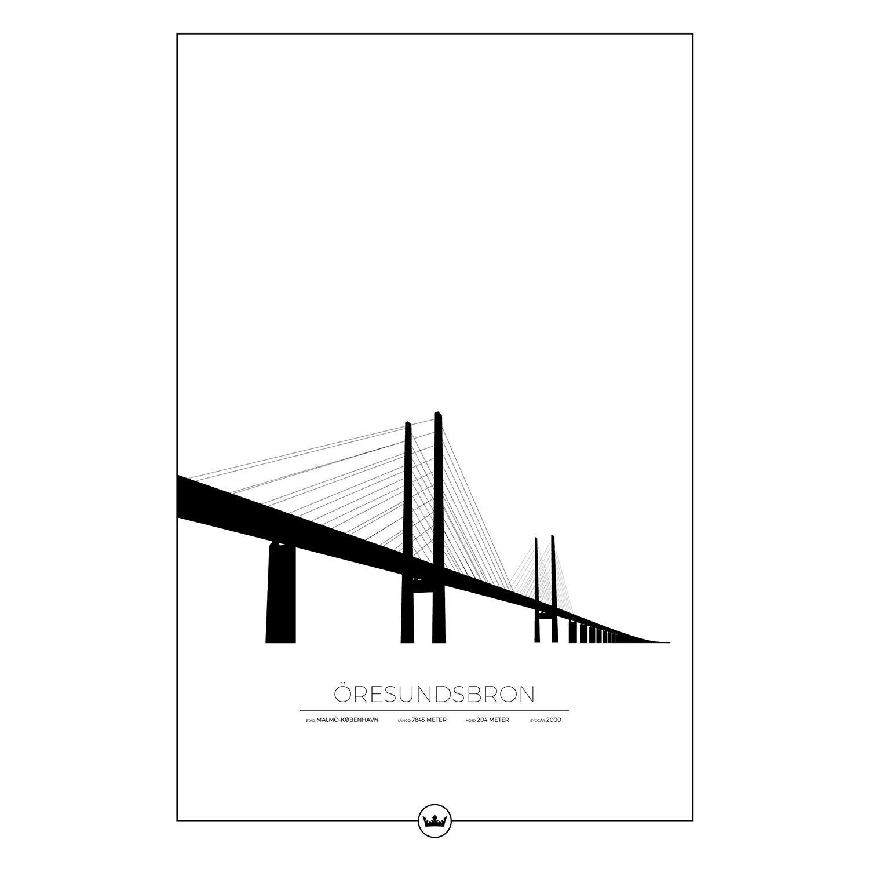 Sverigemotiv Öresundsbron Malmö/Köpenhamn Poster 61x91cm